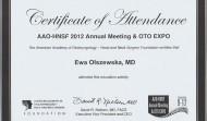 Certyfikat uczestnictwa w Amerykańskiej Akademii Otolaryngologów w 2012 roku