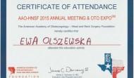 Certyfikat uczestnictwa w Amerykańskiej Akademii Otolaryngologów w 2015 roku