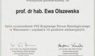 Certyfikat uczestnictwa w VIII Krajowym forum rynologicznym, Warszawa 2011 rok