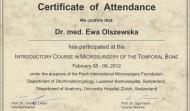 Certyfikat uczestnictwa w Konferencji Otorynolaryngologów w Zurichu w 2012 roku