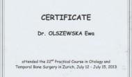 Certyfikat uczestnictwa w Konfeerencji Otorynolaryngologów, Zurych 2013 rok