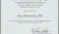 Certyfikat uczestnictwa w Konferencji Otolaryngologów i naukowców, Wisconsin w 2014 roku w USA