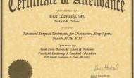 Certyfikat uczestnictwa w konferencji z Zaawansowanych technik leczenia bezdechu w Saint Louis w 2011