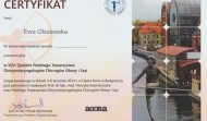 Certyfikat uczestnictwa w XLVI Zjeździe Polskiego Towarzystwa Otorynolaryngologów - Bydgoszcz 2014 rok.