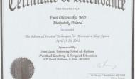 Certyfikat uczestnictwa w Konferencji z zaawansowanych technik leczenie bezdechu, 2012 w Saint Louis